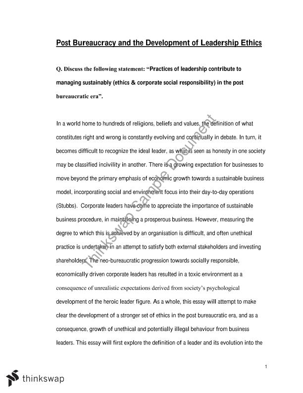 mpo essay managing leadership ethics and csr high  mpo essay 2 managing leadership ethics and csr high distinction autumn 2014