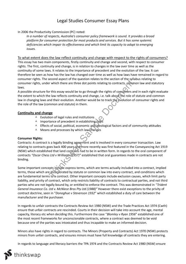 hsc consumer topic essay plans year act legal studies  hsc consumer topic essay plans