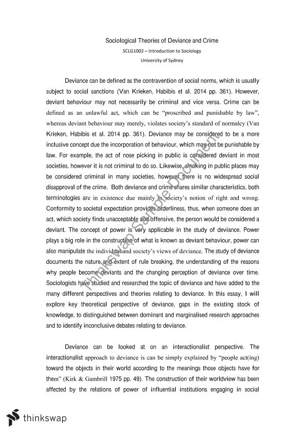 essay questions on deviance Free essay: abnormal behavior in one society appears normal in the other society (nairne, 426) deviance is weighed by the society's reactions to the.
