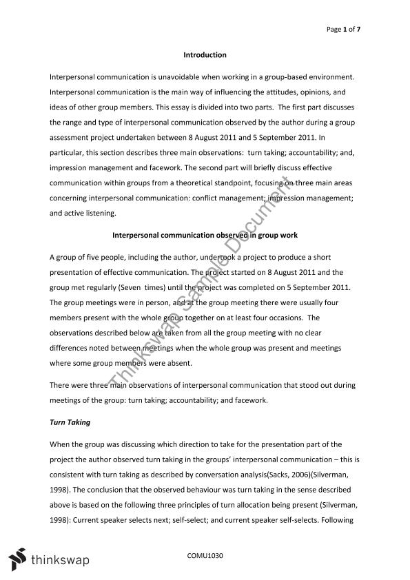 Essay on team communication