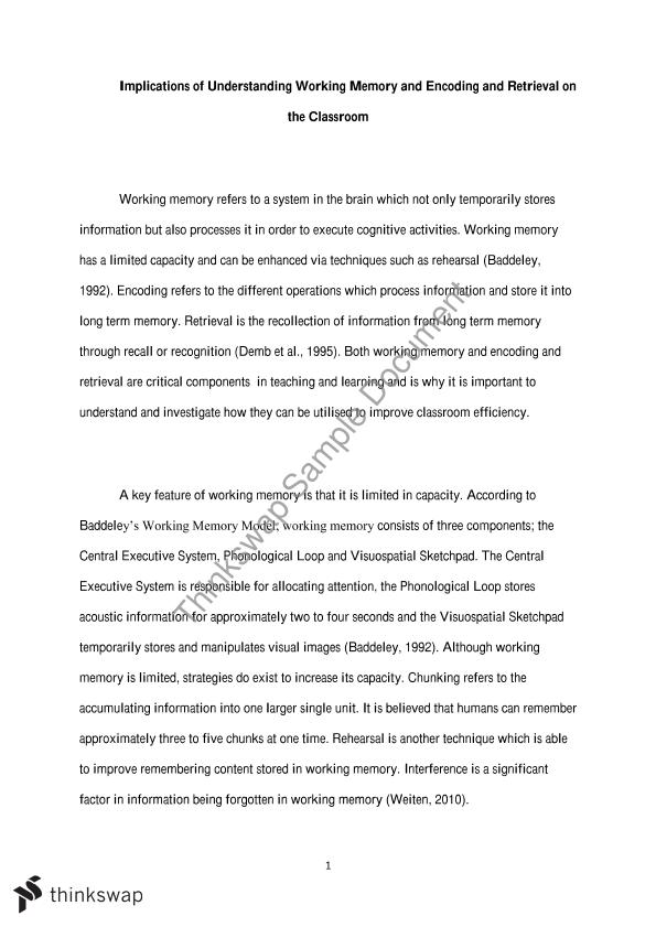 working memory and encoding essay