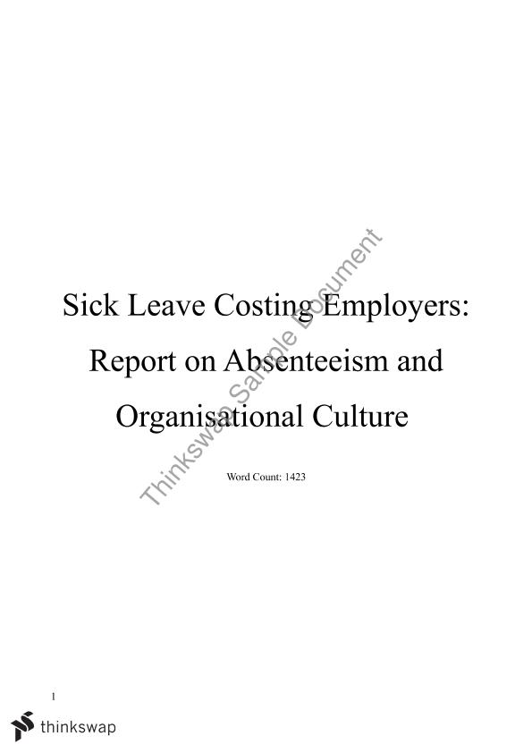 Report on work culture within a workplace.