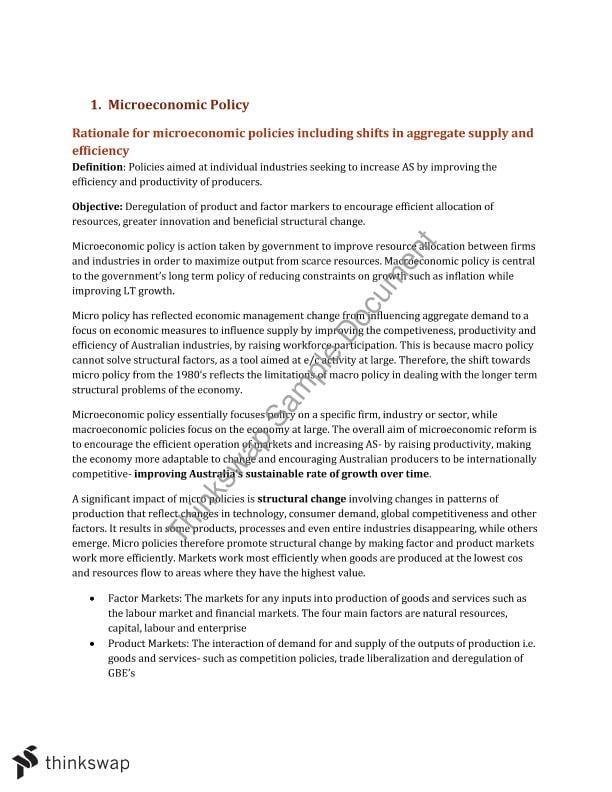 Microeconomic Policy Notes | Year 12 HSC - Economics | Thinkswap