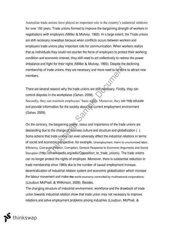 "employment relations essay""trade unions are no longer necessary  employment relations essay""trade unions are no longer necessary"