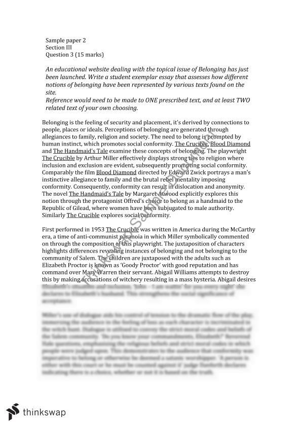 Belonging essay (CRUCIBLE and two related texts) | Year 12 HSC ...