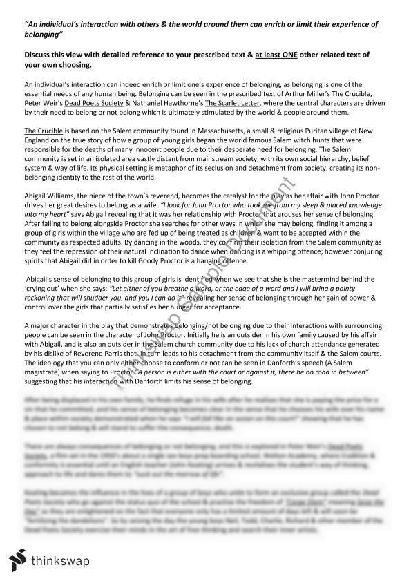 Belonging Essay - Crucible, Dead poets society & Scarlet Letter ...