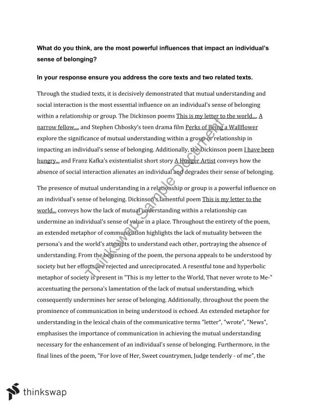 english area of study essay belonging year hsc english  english area of study essay belonging