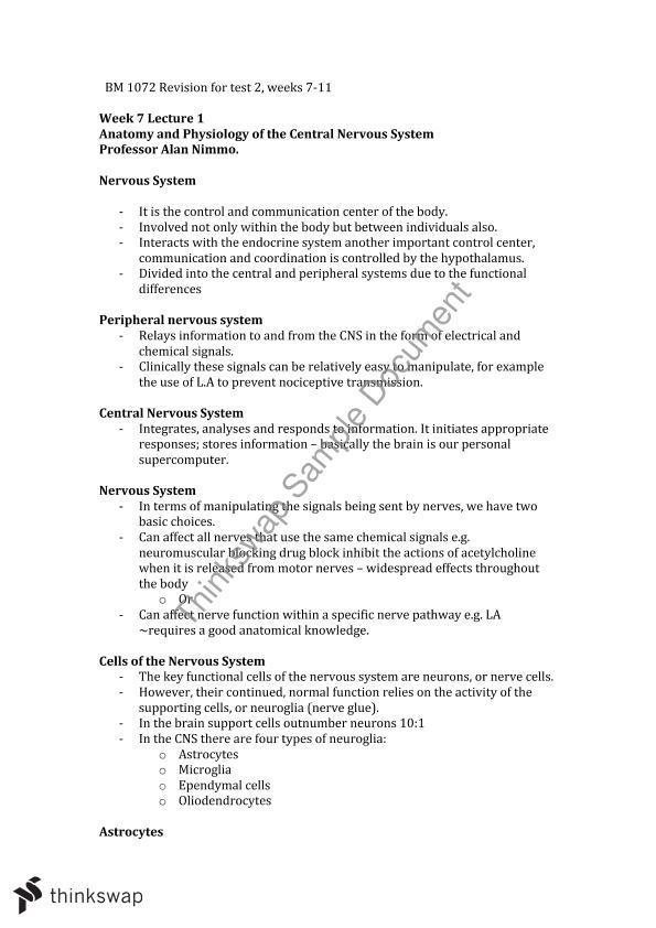 BM1072 Study Notes Test 2 - Set by Professor Alan Nimmo   BM1072 ...