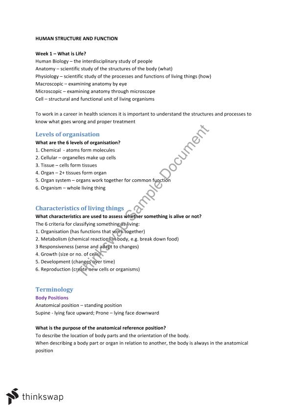 Human Structure and Function notes | HUMB1000 - Human Structure and ...