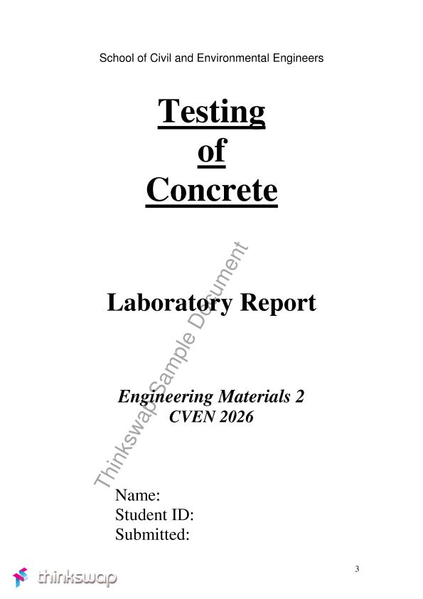 Testing Of Concrete Lab Report  Cven  Engineering Materials