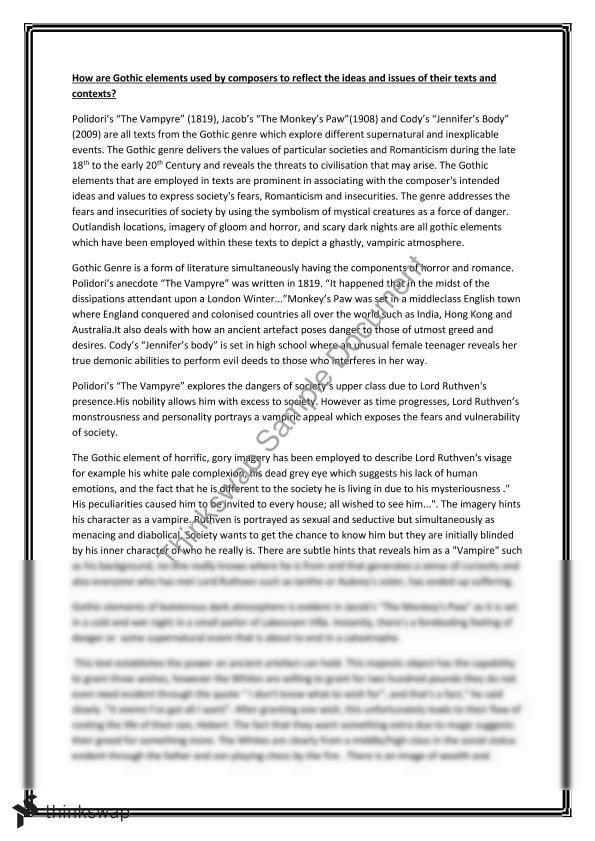 English Extension  Essay On Gothic Genre  Year  Hsc  English  English Extension  Essay On Gothic Genre