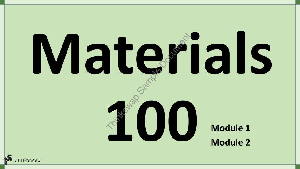 Engineering Materials 100 - Chemistry Section - Page 1