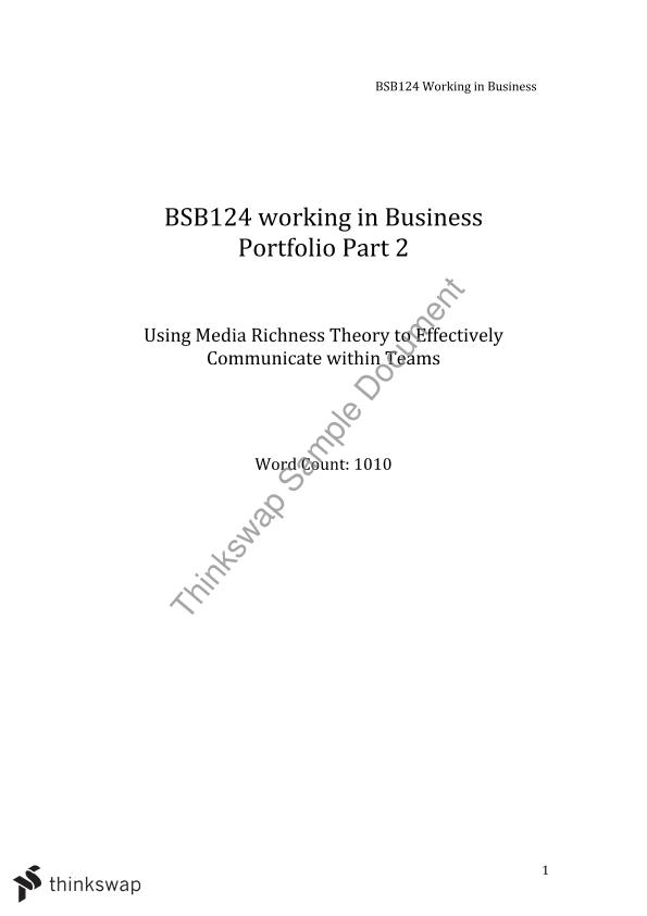 bsb124 working in business portfolio part You may well associate a business portfolio as something you only need when you're looking for more work or jobs but in fact it can be a really useful overall, you should aim to present and include your best achievements, show how your business has grown and display your business in a positive light.