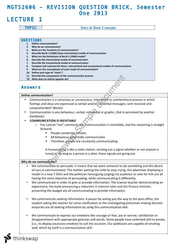 Final Exam Notes | MGTS2606 - Managerial Skills