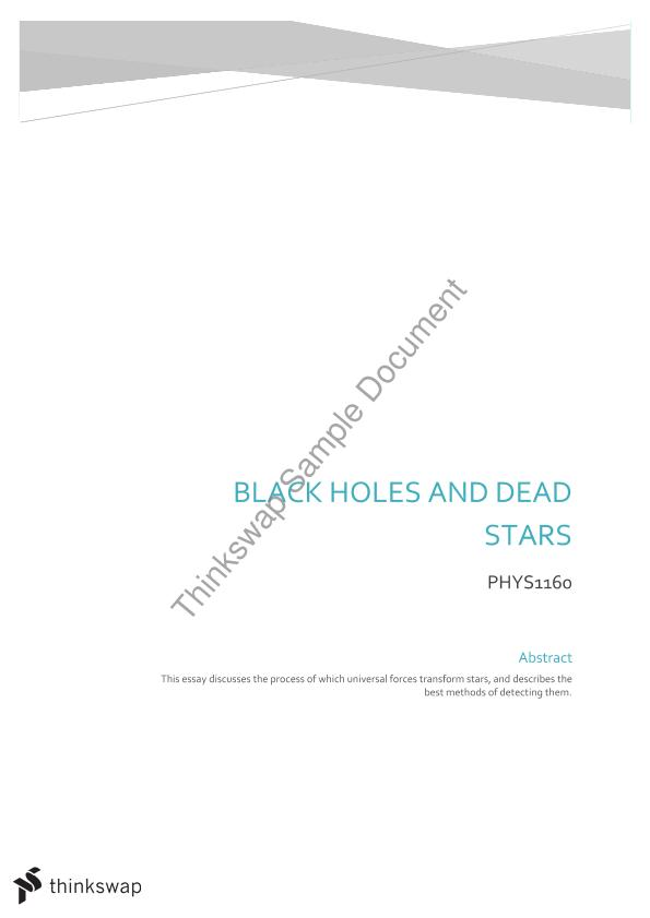 phys essay black holes and dead stars phys  phys1160 essay black holes and dead stars