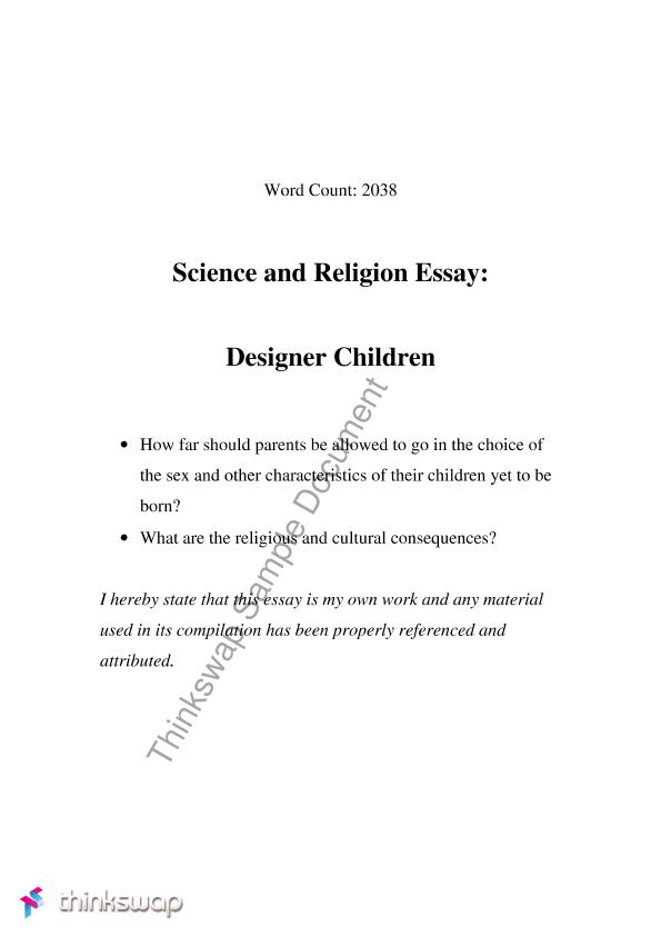 science and religion essay pdf History of the conflict between religion and science p 2a john william draper p 2b history of the conflict between religion and science by john william draper, m d, ll.