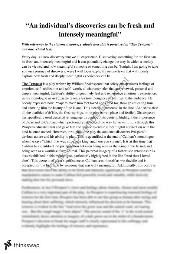 Advanced Essay  Elitamydearestco Advanced Essay English Advanced Discovery Essay The Tempest Year