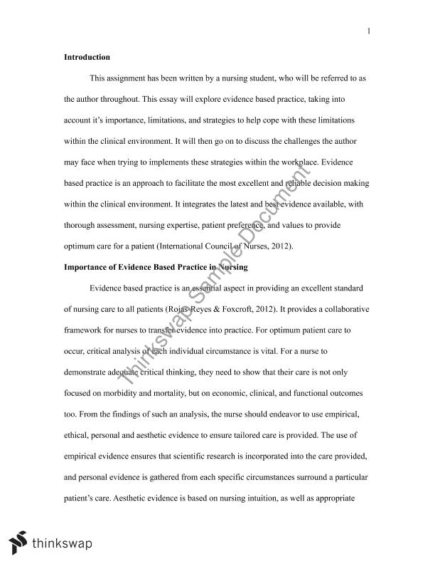 Evidence based practice essay