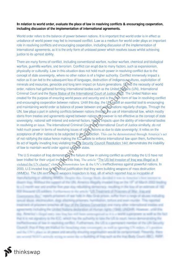 Hsc legal studies world order essay
