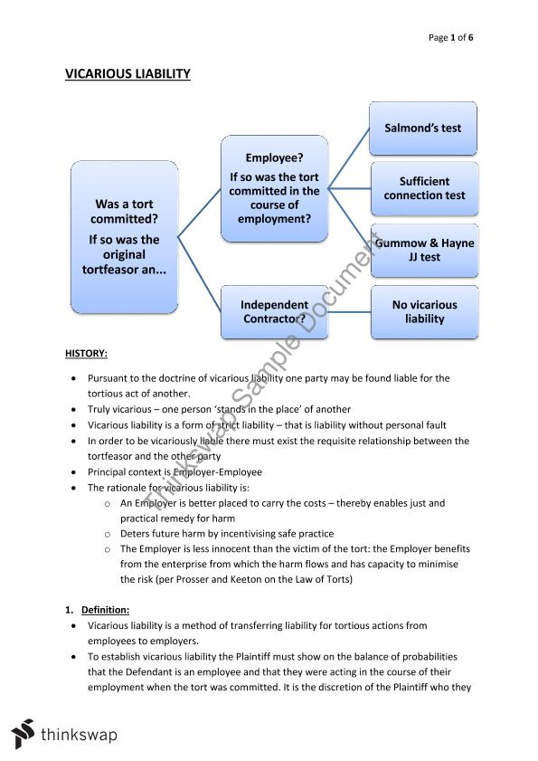 Vicarious Liability Notes  Law  Torts A  Thinkswap Vicarious Liability Notes Business Essay Sample also Sample Synthesis Essays  Essay Proposal Examples