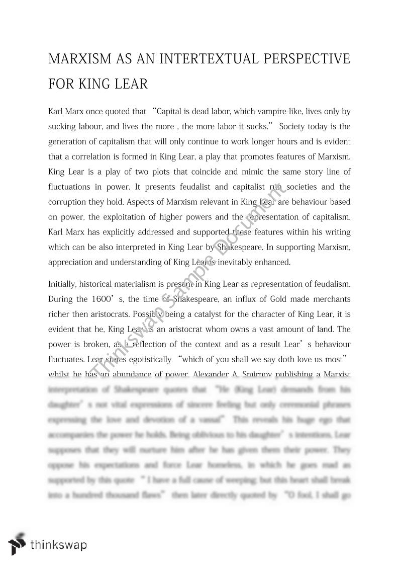 marxism as an intertextual perspective for king lear year hsc marxism as an intertextual perspective for king lear