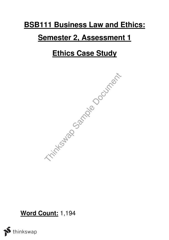 Business Law and Ethics - Assessment 1