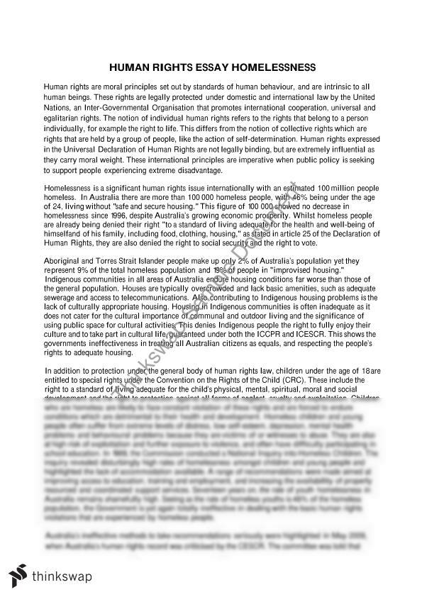 essay about homeless people