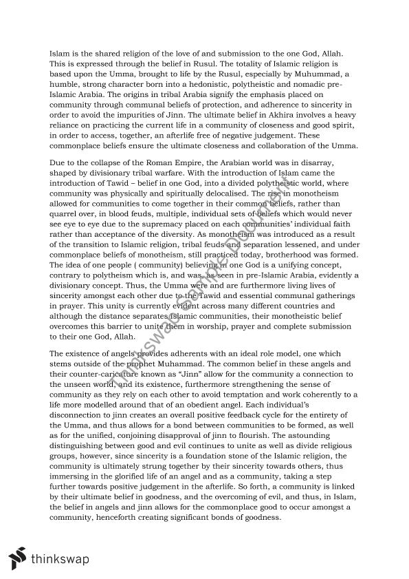 "essay on religion beliefs I hold that all religions, irrespective of any non-believer's belief in their apparent "" rationality"" or irrationality, are equally worthy of respect here i define religion in the broadest possible terms to contain not only more usual definitions which include gods and worship but anything with a spiritual."