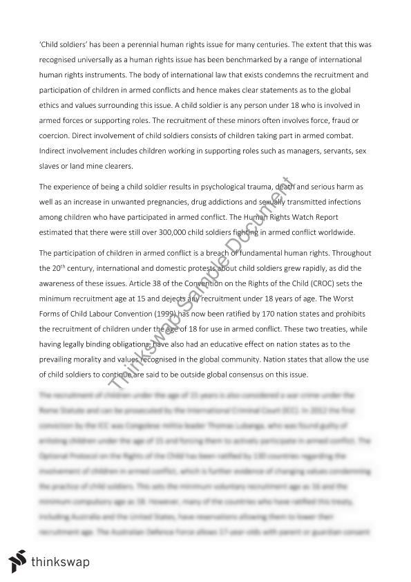 Child Soldiers Essay | Year 12 HSC - Legal Studies | Thinkswap