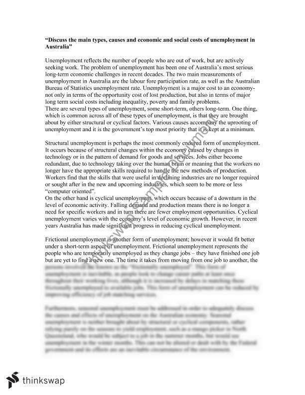 unemployment essay on social and economic costs year hsc  unemployment essay on social and economic costs