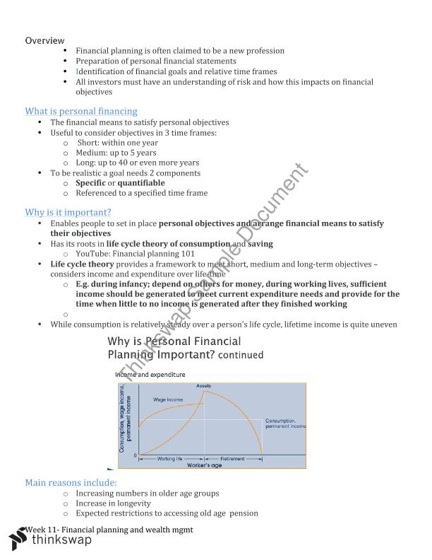 Financial Planning topic | FIN111 - Introductory Principles