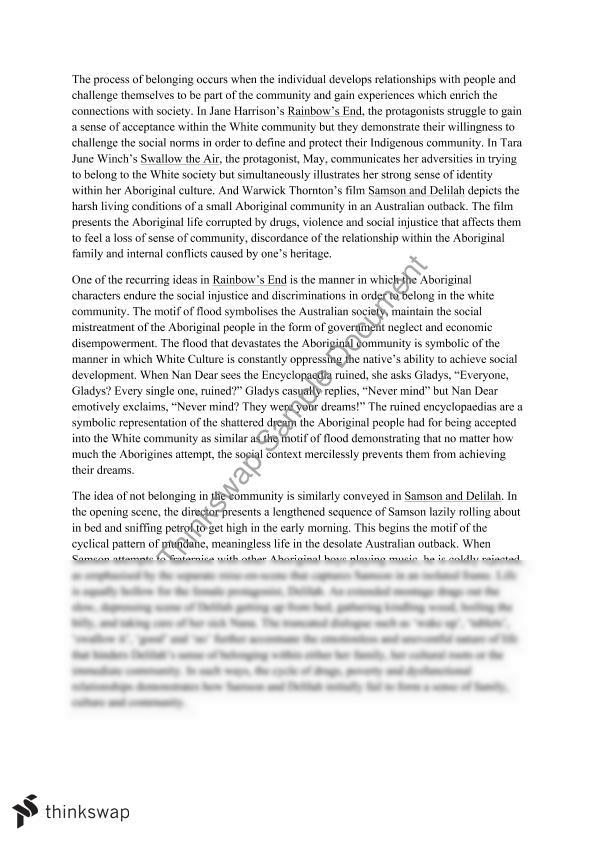 Belonging Essay | Year 12 HSC - English (Standard) | Thinkswap