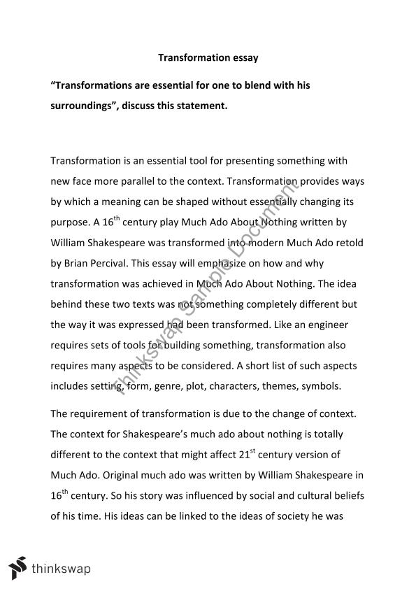 Tranformation Essay  Year  Hsc  English Advanced  Thinkswap Tranformation Essay What Is The Thesis Of An Essay also High School Reflective Essay  Thesis Essay Example