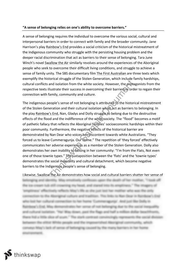 sense of belonging essay