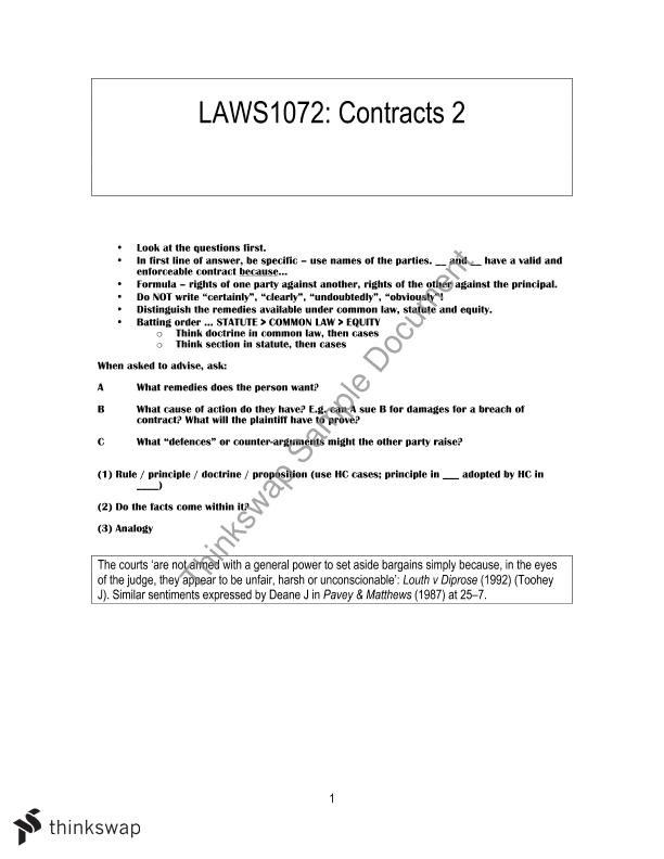 Contract Law Complete Study Notes with Contents | 200011