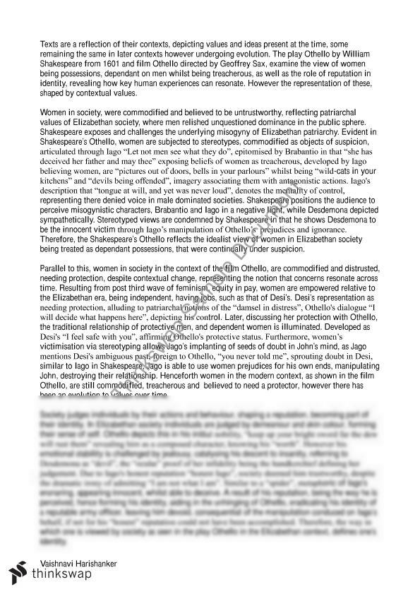 thesis statement othello race Compare contrast comparison - comparing the downfalls of sophocles' oedipus and shakespeare's othello.