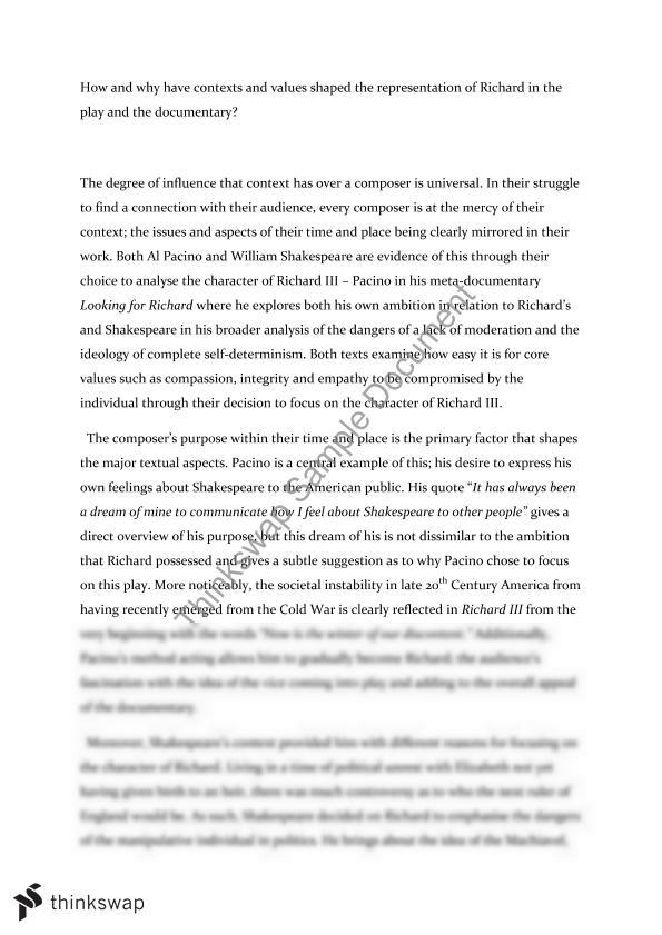 Argument Essay Thesis Statement Richard Iii And Looking For Richard Comparative Essay Essay Learning English also How To Write A High School Application Essay Richard Iii And Looking For Richard Comparative Essay  Year  Hsc  How To Write A Business Essay