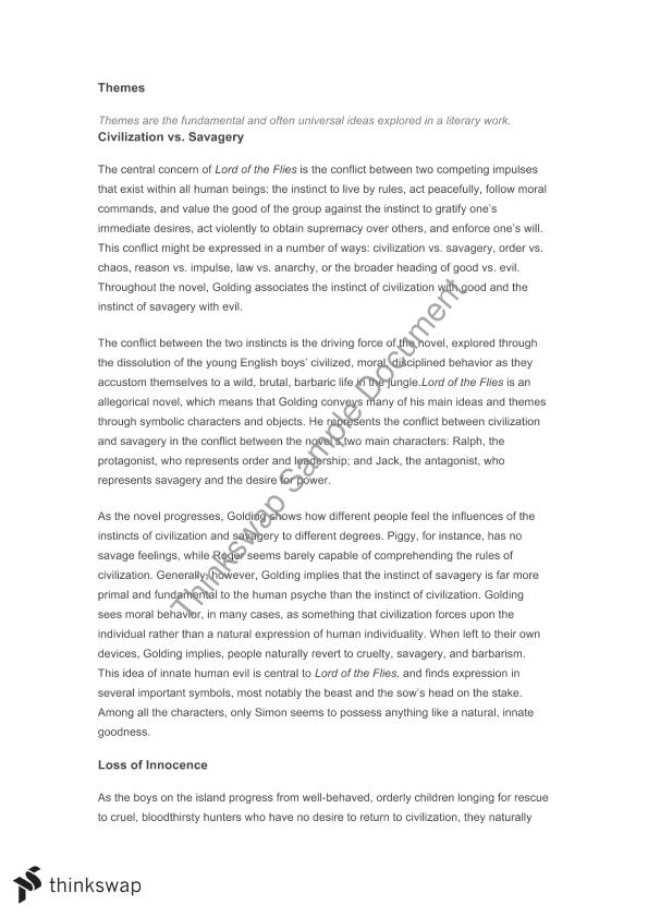 Lord Of The Flies Essay On Savagery  Reflective Essay Thesis Statement Examples also English Essay Story  Custom Term Papers And Essays