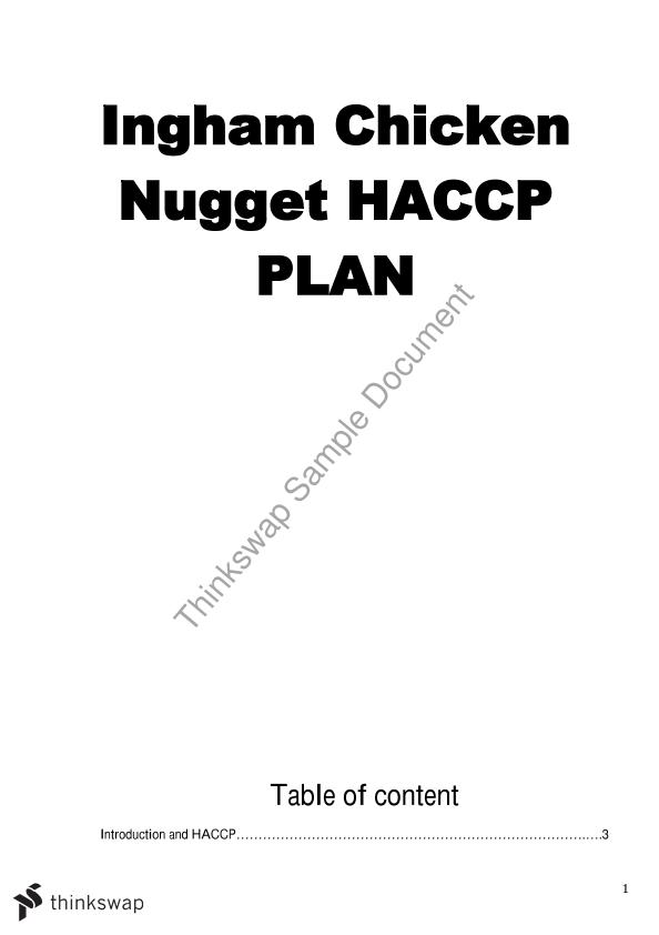 Ingham Chicken Nugget Haccp Plan Food3030 Food Safety And