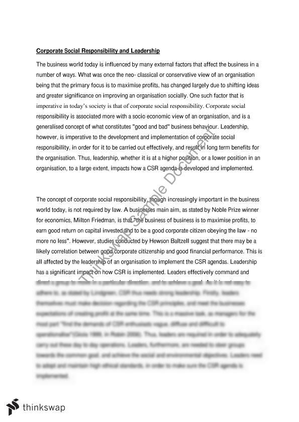 Csr Essay    Management Dynamics  Thinkswap Csr Essay Essay For Science also How To Start A Synthesis Essay  Compare And Contrast Essay Papers