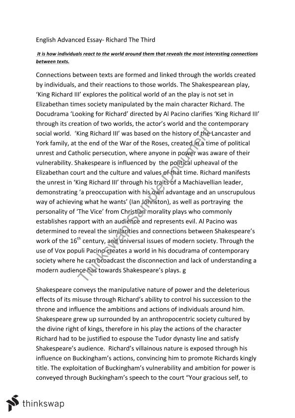 richard the third essay year hsc english advanced thinkswap richard the third essay