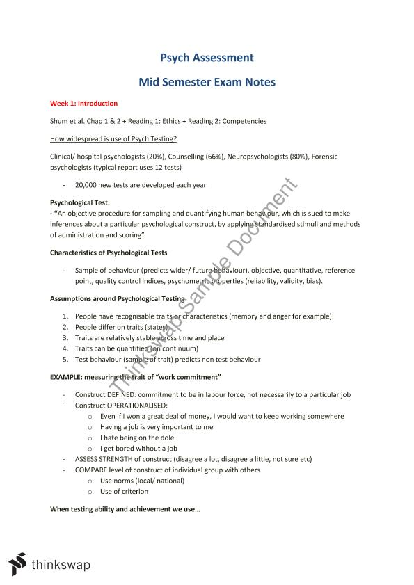 Psychological Assessment - Mid Sem Exam Notes | 3006PSY