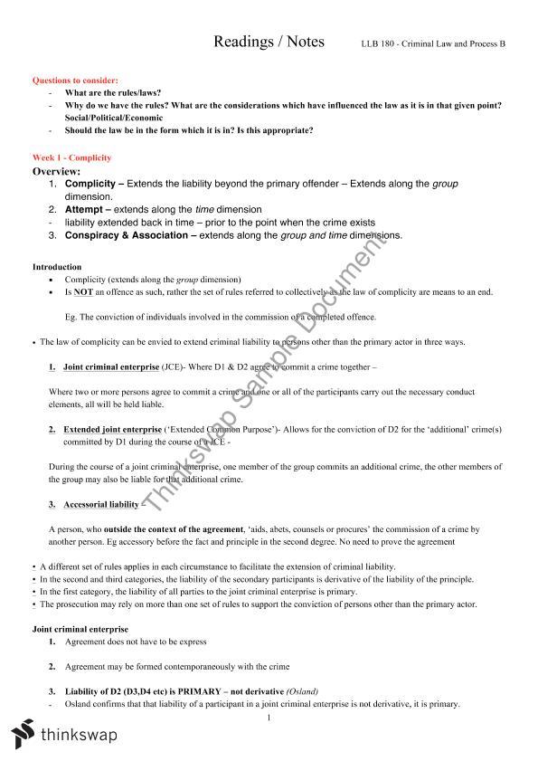 Criminal Law B Full Semester Notes Llb180 Criminal Law And