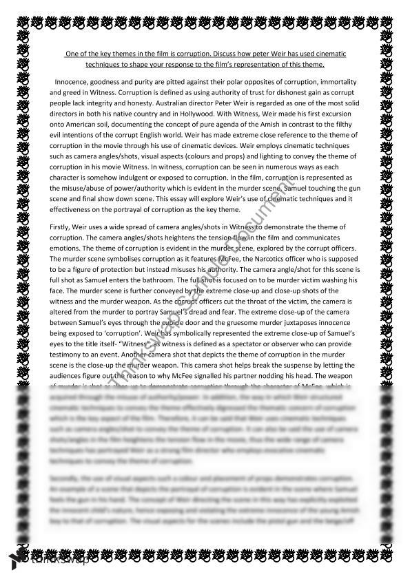Witness Essay Corruption  Year  Hsc  English Standard  Thinkswap Witness Essay Corruption