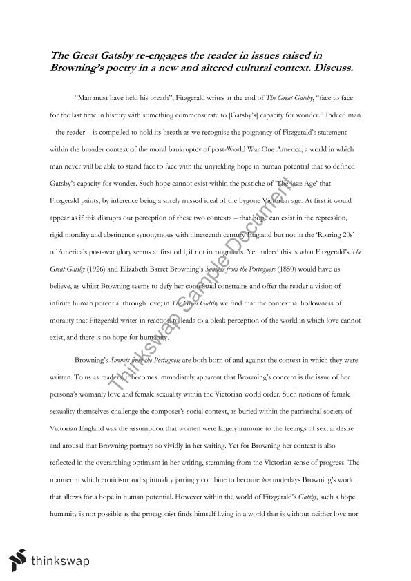 the great gatsby elizabeth barrett browning essay questions Essay on gatsby and ebb hsc english advanced: module a essay on ebb and the great gatsby elizabeth barrett browning's 'sonnets from the portuguese' and.