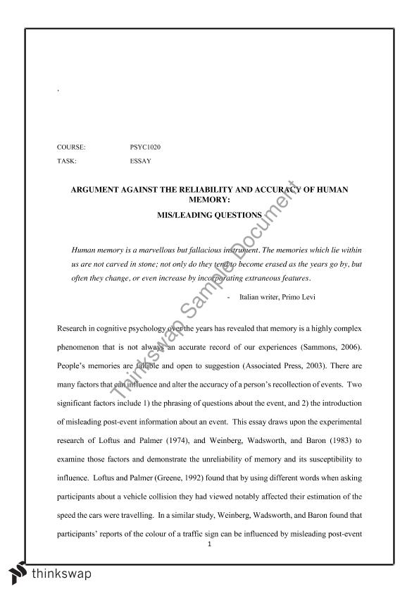 semester major essay psyc introduction to psychology  semester 1 major essay