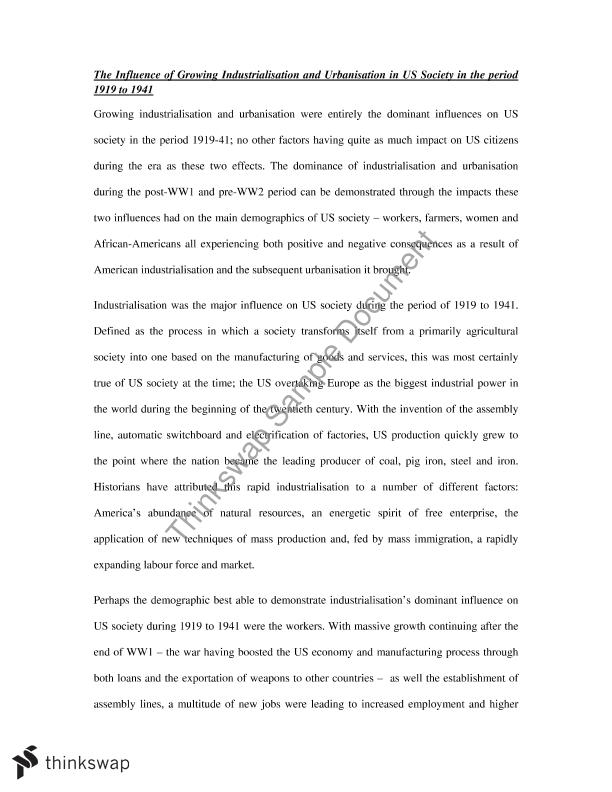 industrialisation and urbanisation essay year hsc modern  industrialisation and urbanisation essay