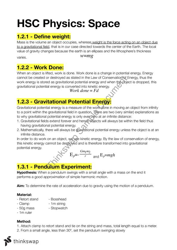 HSC physics syllabus notes | Year 12 HSC - Physics | Thinkswap