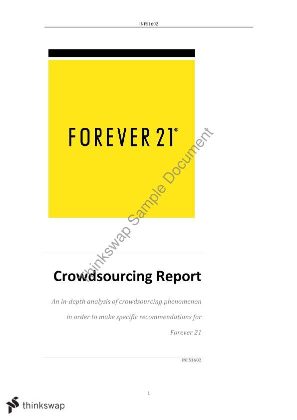 infs1602 assignment a essay Nt consulting group infs1602 assignment a nicholas matthew tan executive summary the report contains an analysis for australian businesses in regards to crowdsourcing platforms due to the nature of information systems and technology, the report examines the possible threats and opportunities that crowdsourcing platforms may offer.