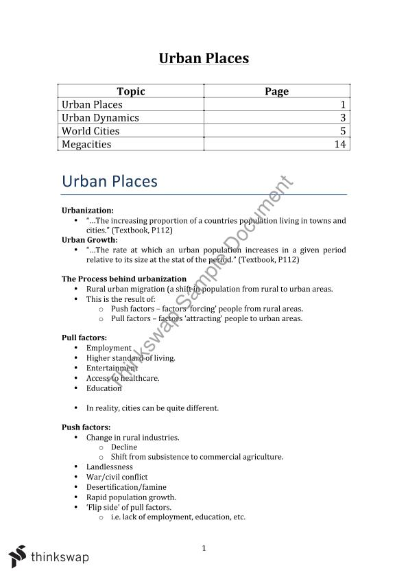 Urban Places - HSC Geography